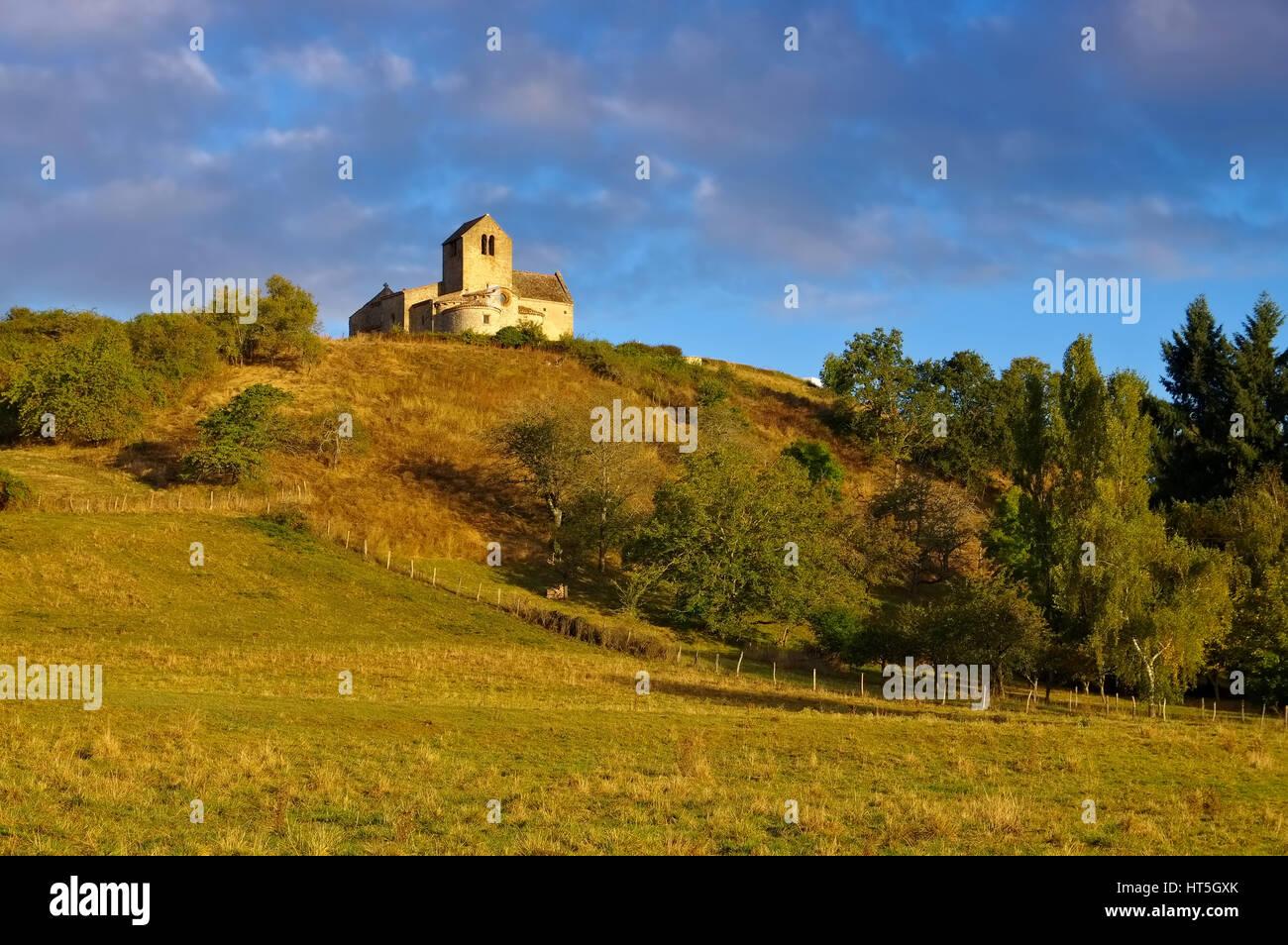 Chatel-de-Neuvre church Saint-Laurent, Auvergne in France Stock Photo