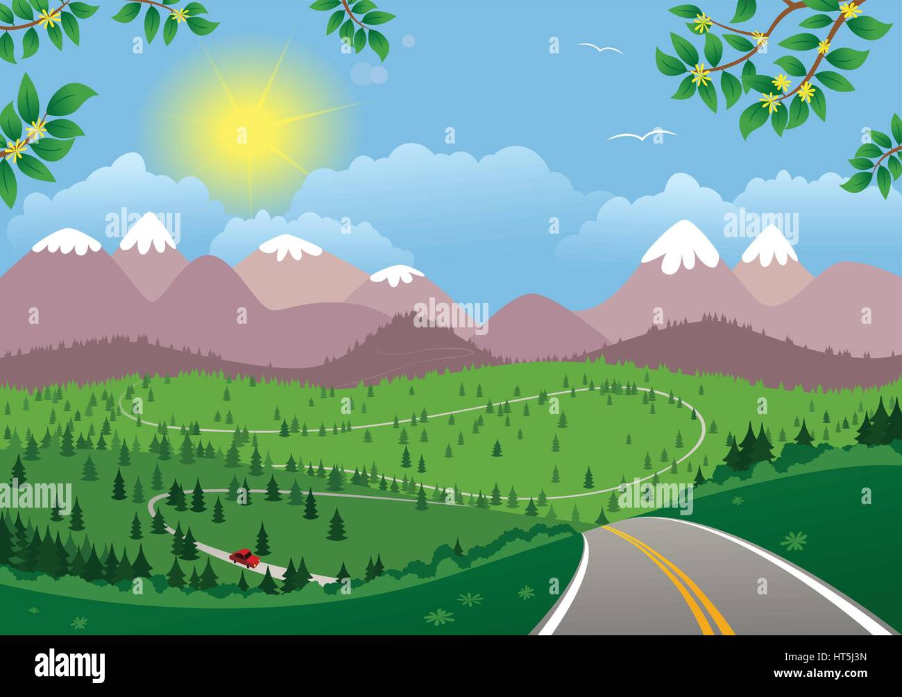 A mountainous landscape and twisting road on a sunny day. - Stock Vector
