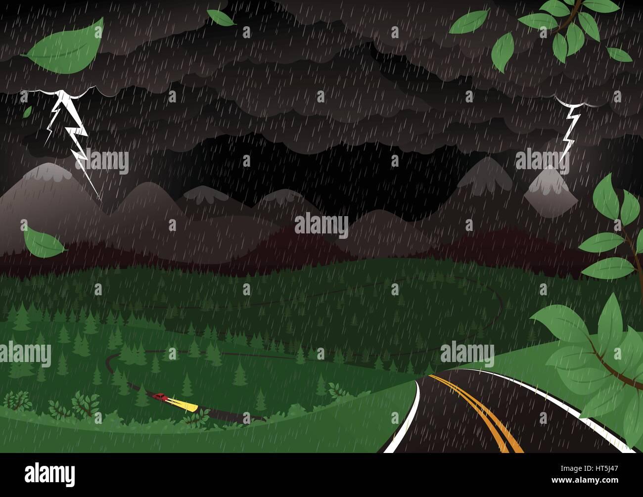 A dark, mountainous landscape during a thunderstorm. - Stock Vector