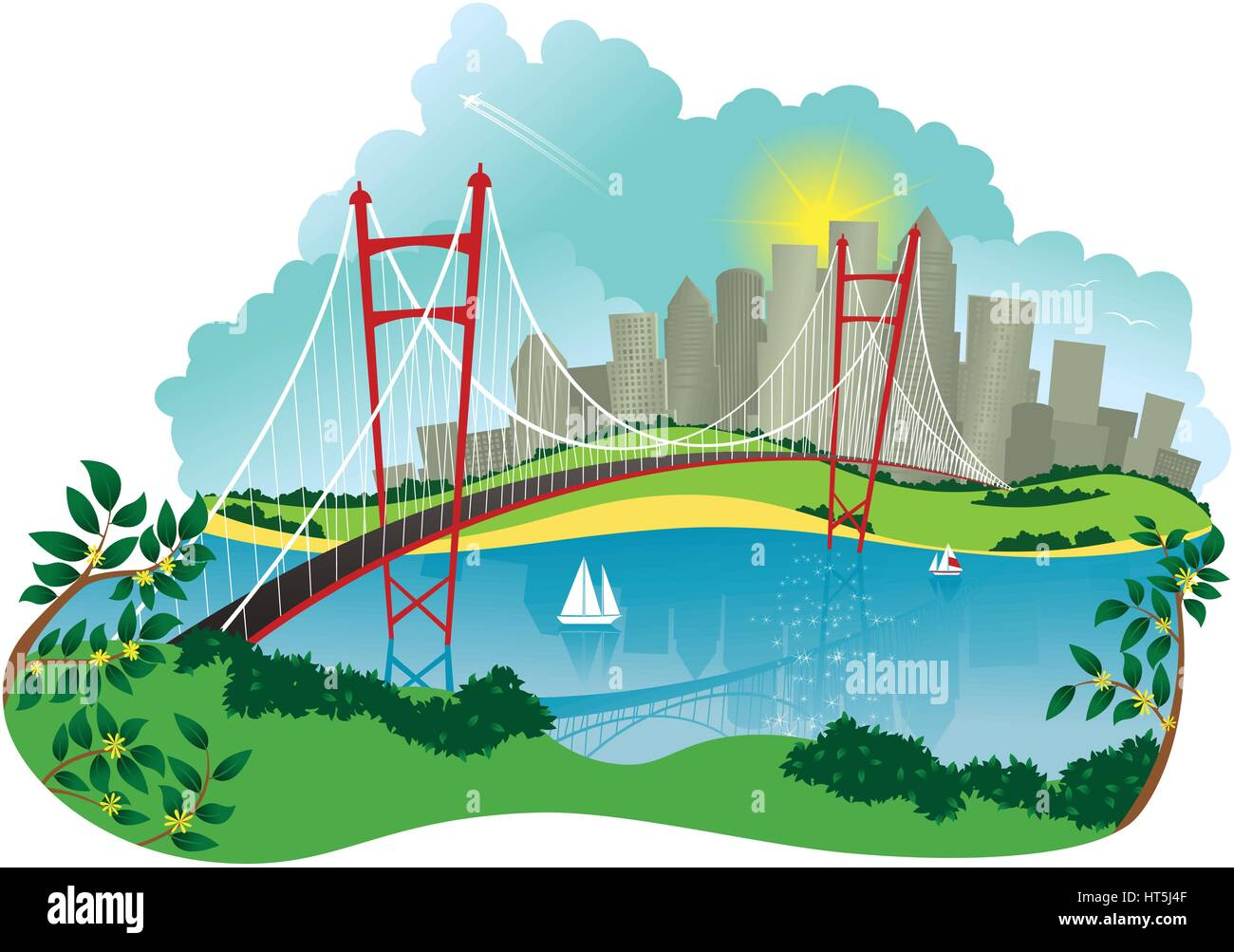 An image of a suspension bridge spanning a large river, and city in the background. - Stock Vector