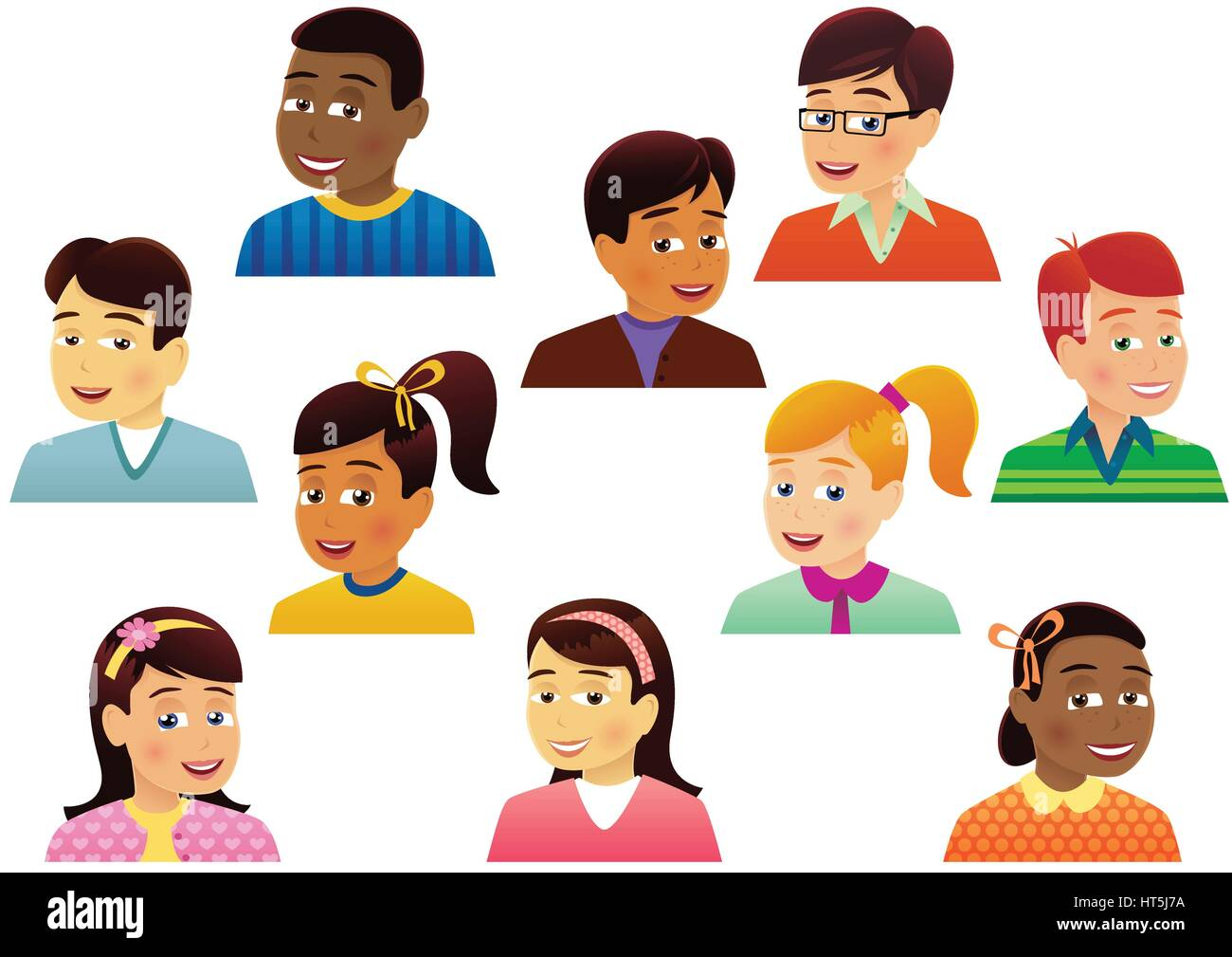 Ten individual and different children's head and shoulder detail images. - Stock Vector