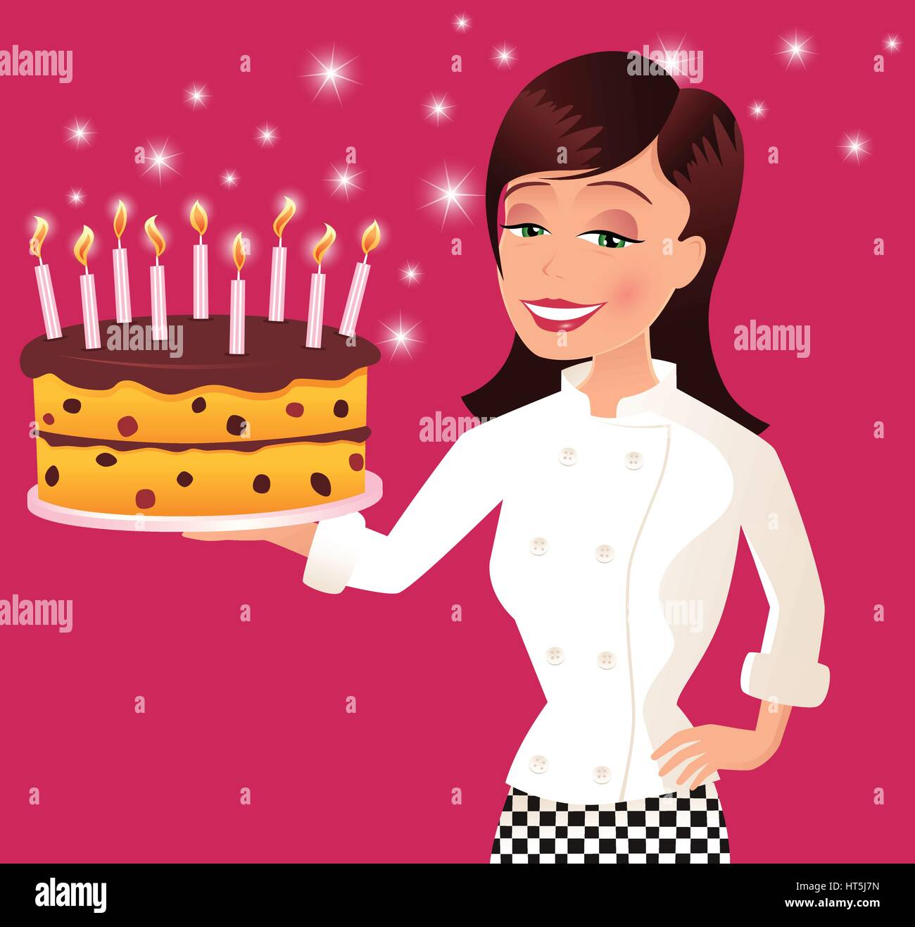 An image of a young female chef presenting a birthday cake. - Stock Vector