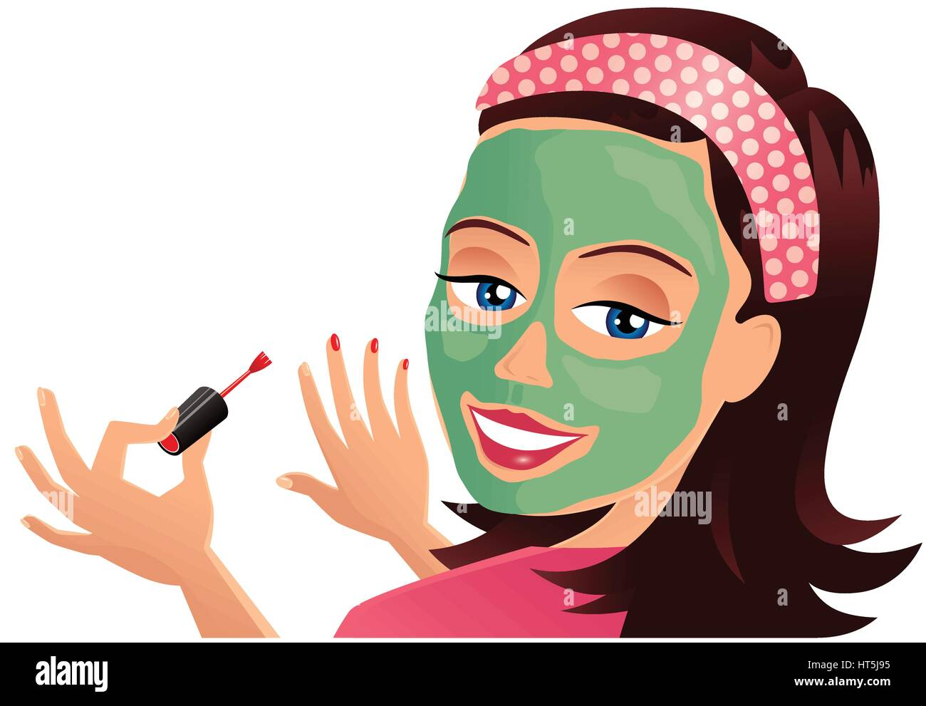 A young woman applying nail varnish while wearing a face mask Stock ...