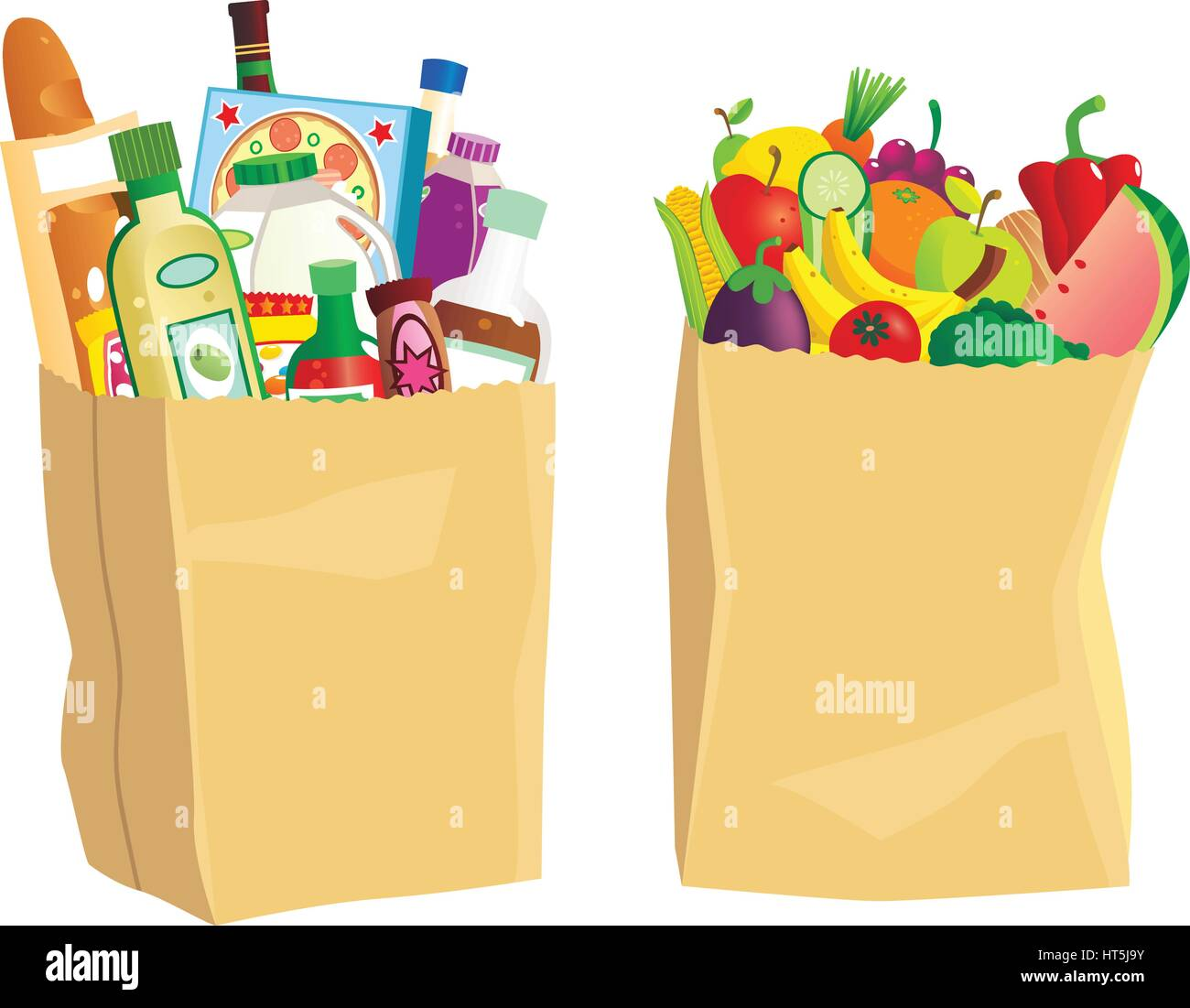 Two paper grocery bags full of various shopping items. Stock Vector