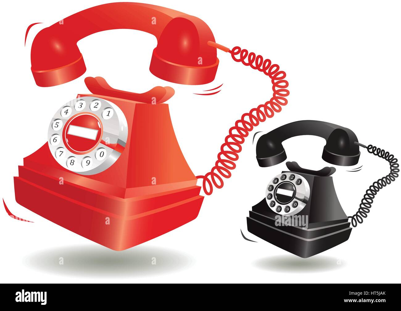 Two illustrations of an old fashioned telephone, one in black and one red. - Stock Image