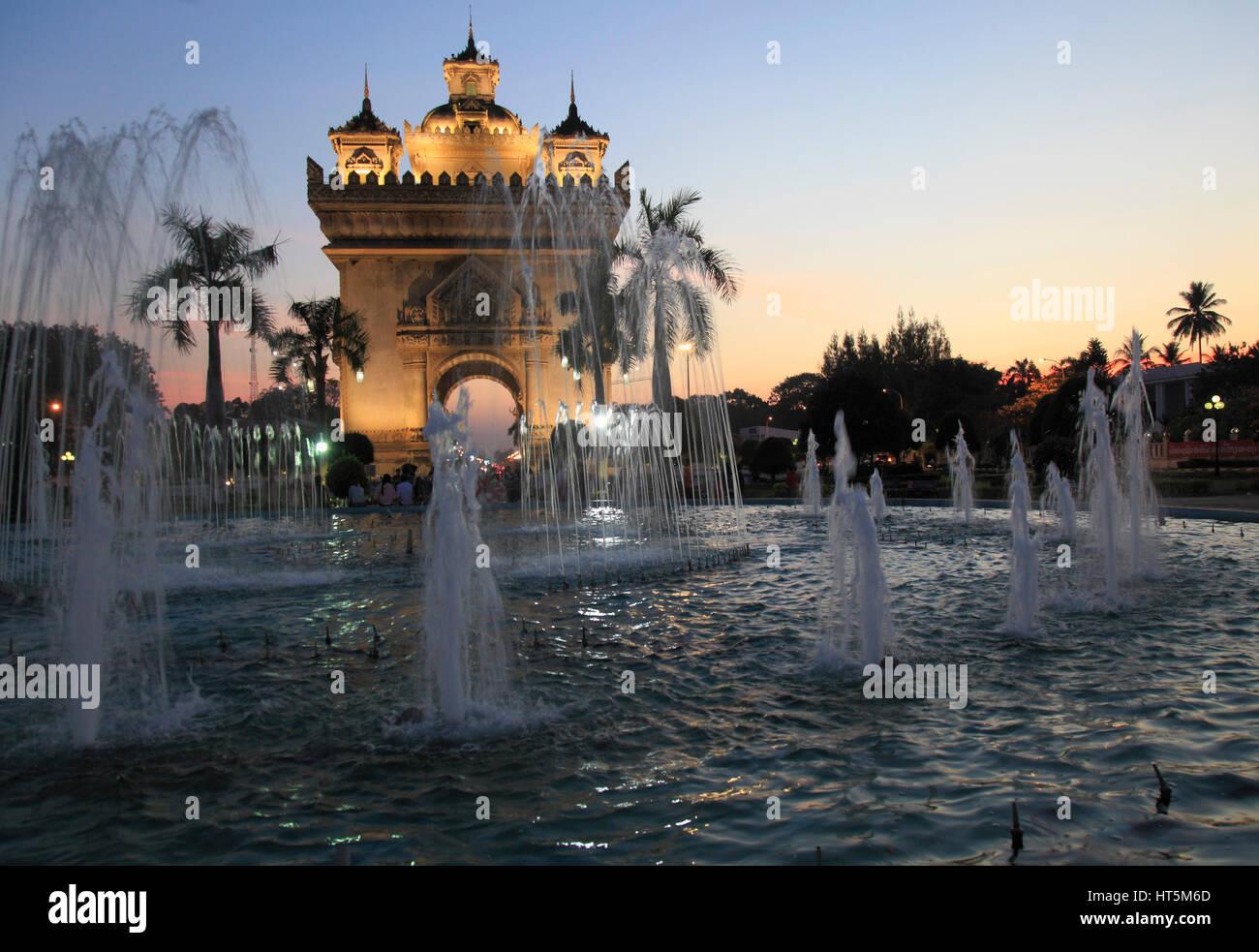 Laos, Vientiane, Patuxai Monument, - Stock Image