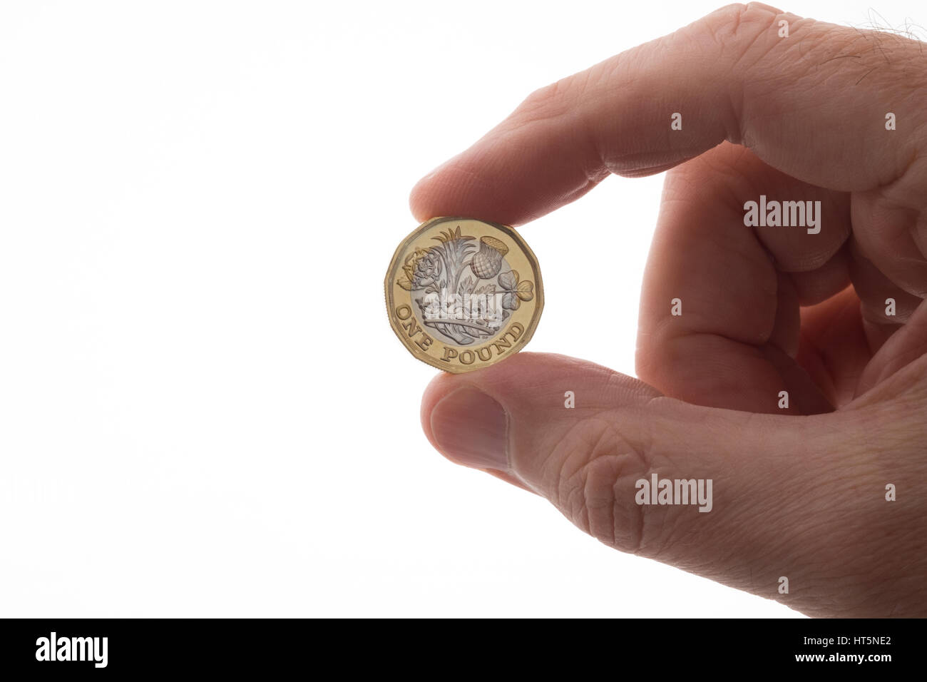 New design pound coin, the twelve sided design introduced in 2017 - Stock Image