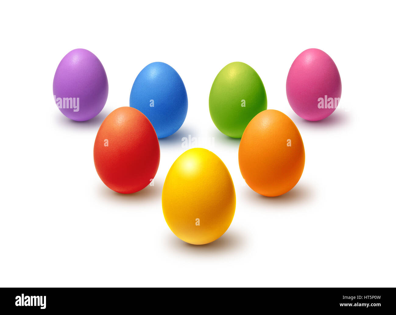 Rainbow colored Easter eggs isolated on white Stock Photo
