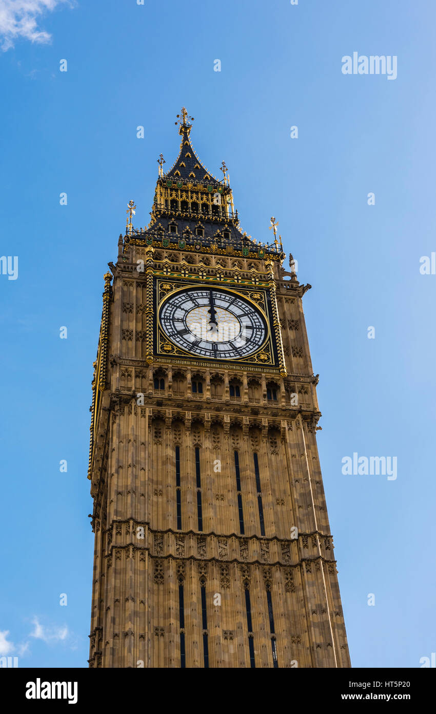 Big Ben caught at precisely midday, Westminster, London, UK - Stock Image