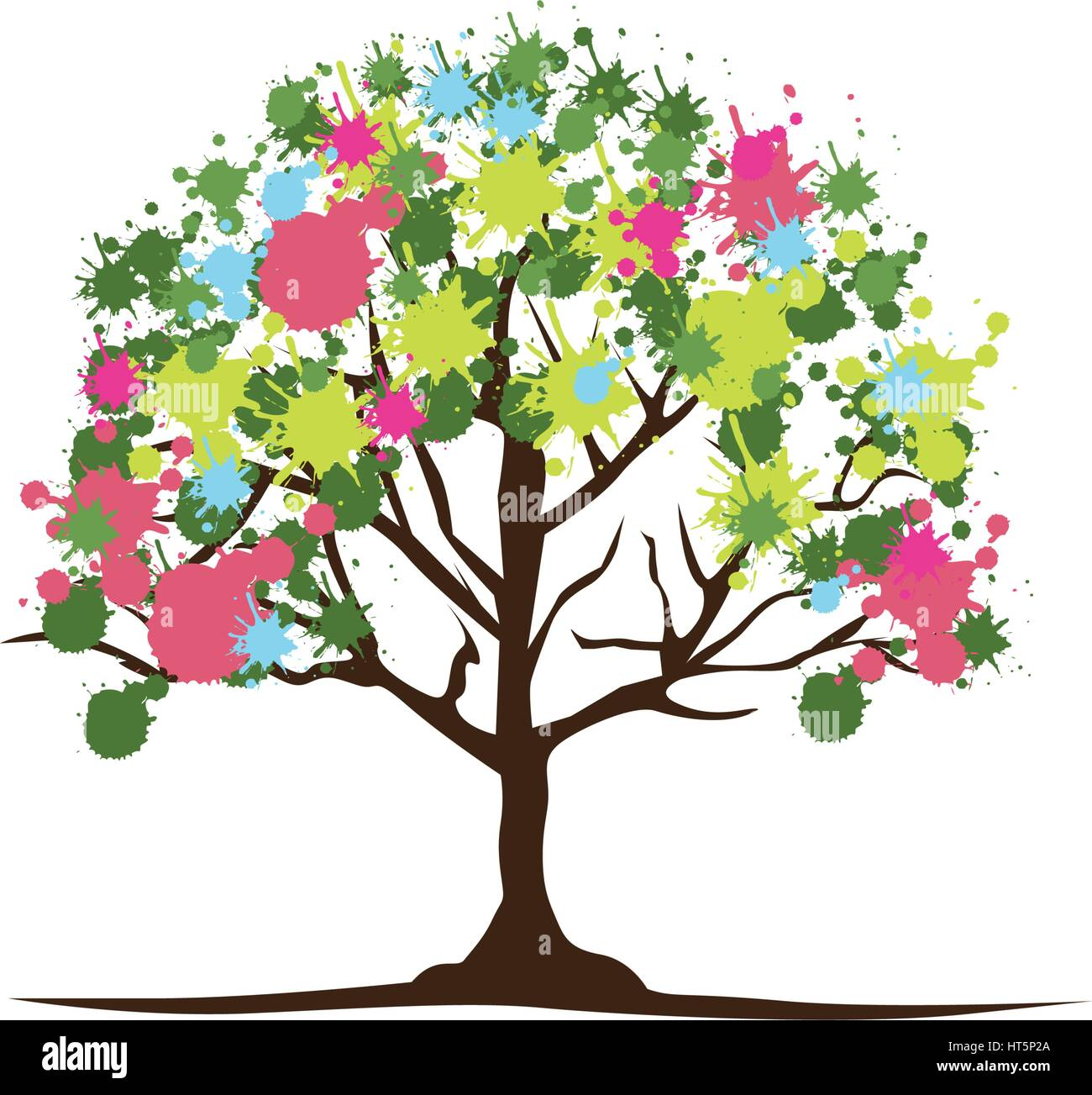 color trees with some leaves and flowers icon Stock Vector Art ...