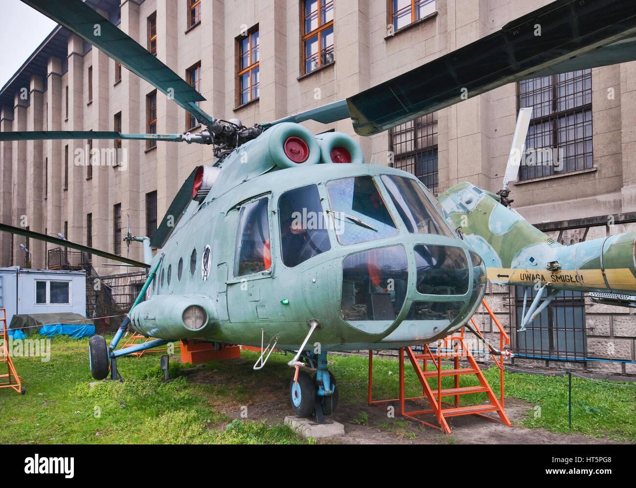 Mil Mi-8T, Soviet medium twin-turbine assault transport helicopter, Polish Army Museum in Warsaw, Poland - Stock Image