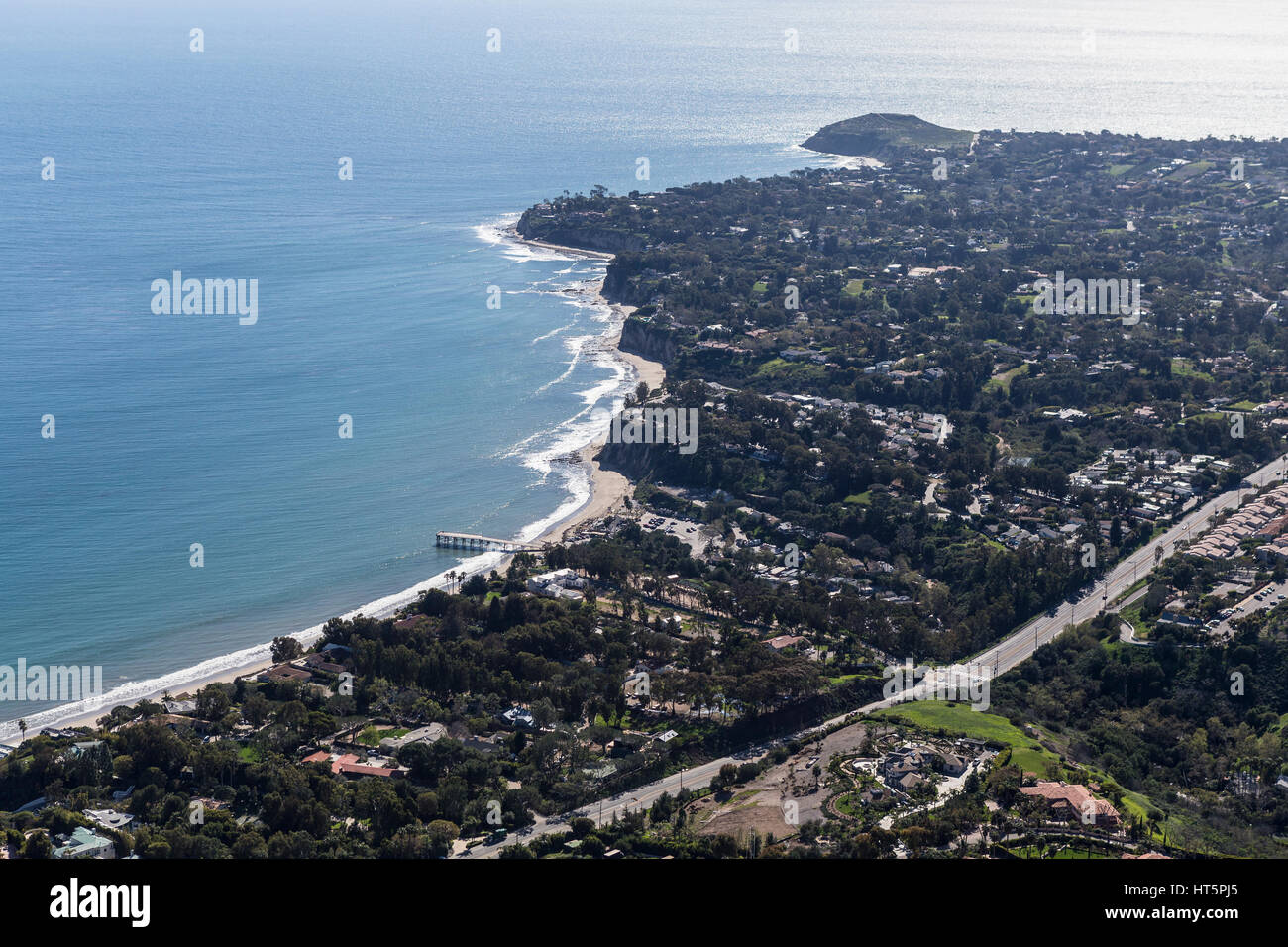 Aerial view towards Paradise Cove and Point Dume in Malibu, California. Stock Photo