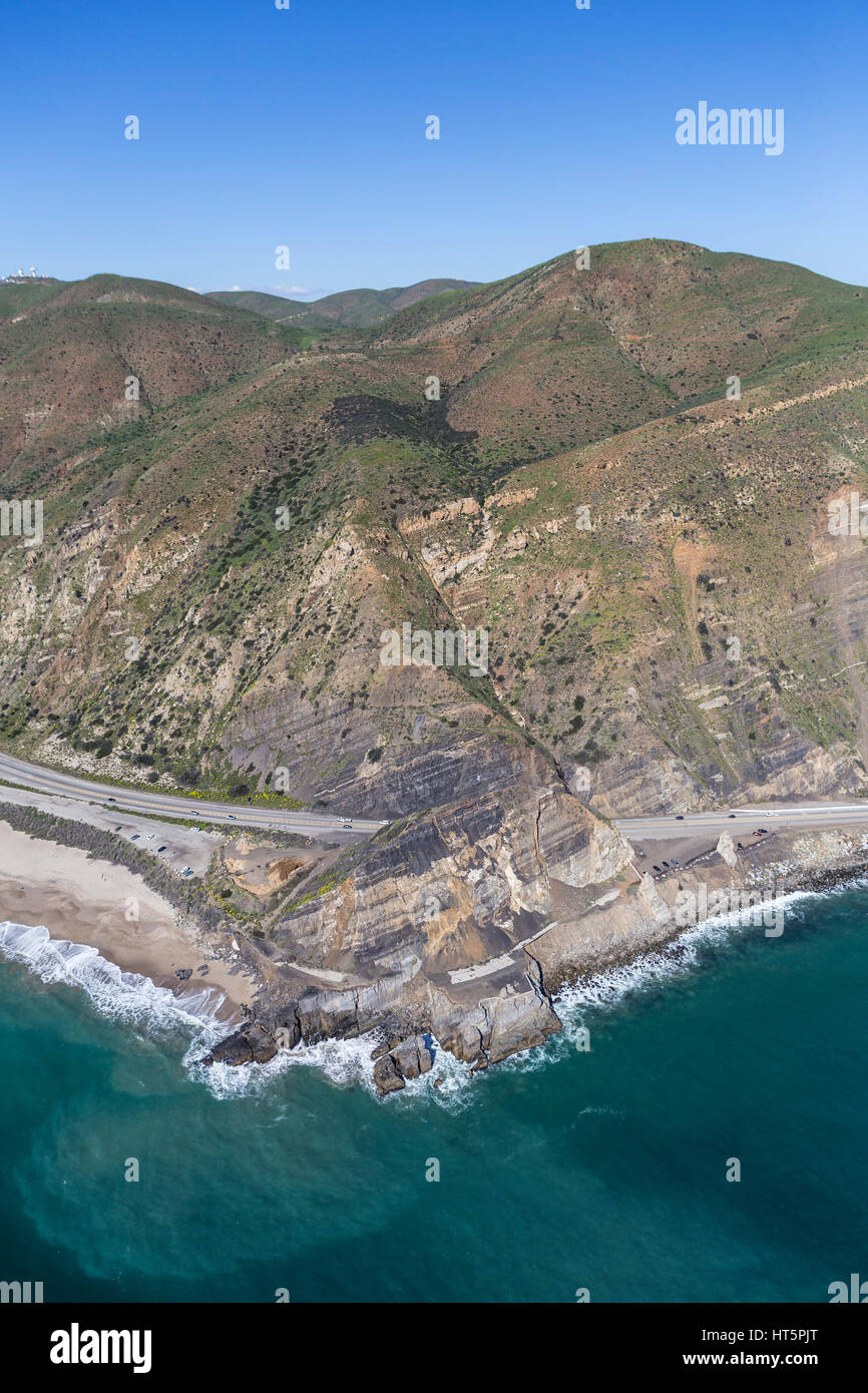 Aerial view of Pacific Coast Highway passing Point Mugu near Malibu in Southern California. - Stock Image