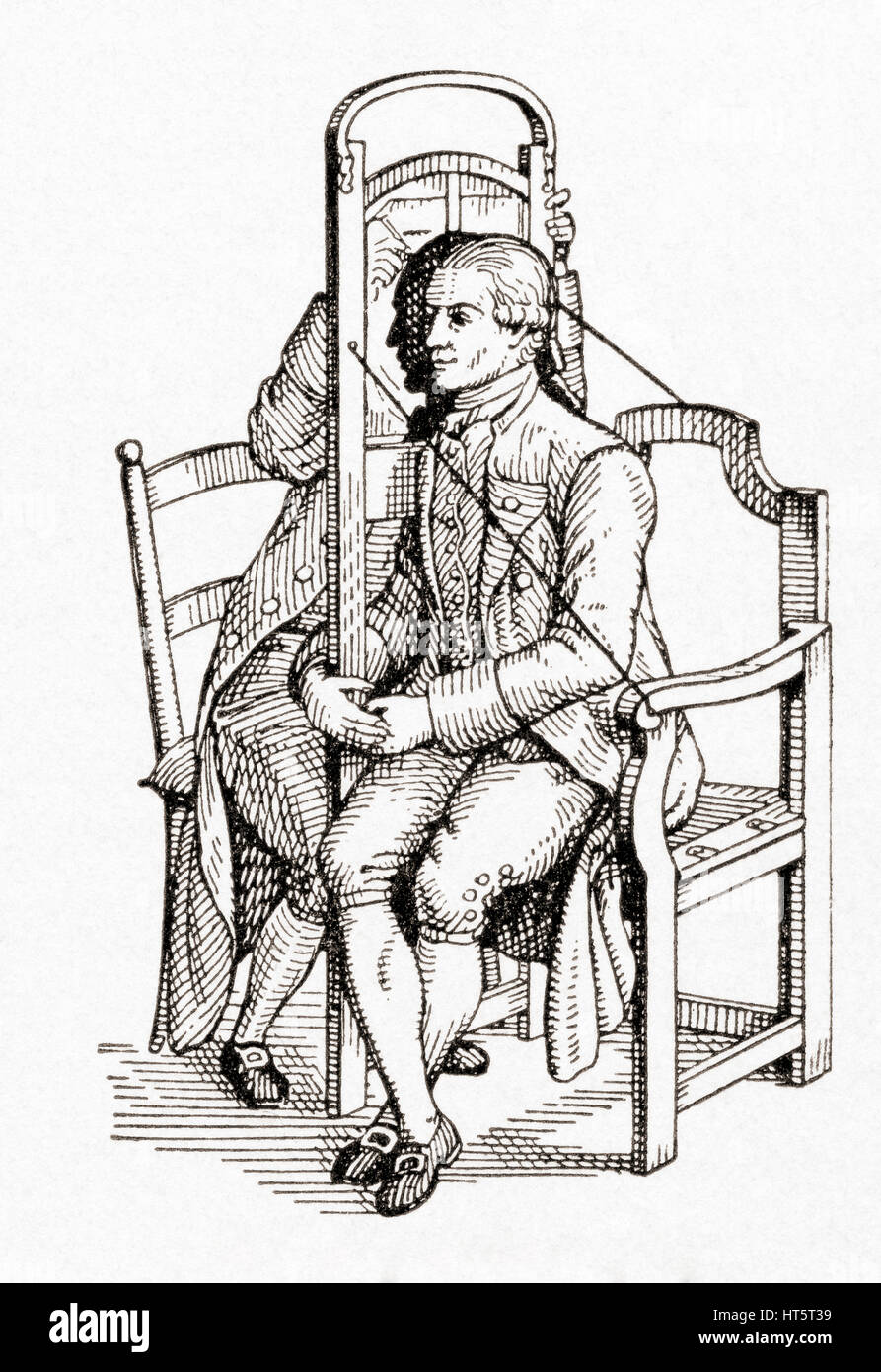 A silhouette chair invented to make it possible to copy a profile in a single sitting.  Cutting portraits, generally - Stock Image