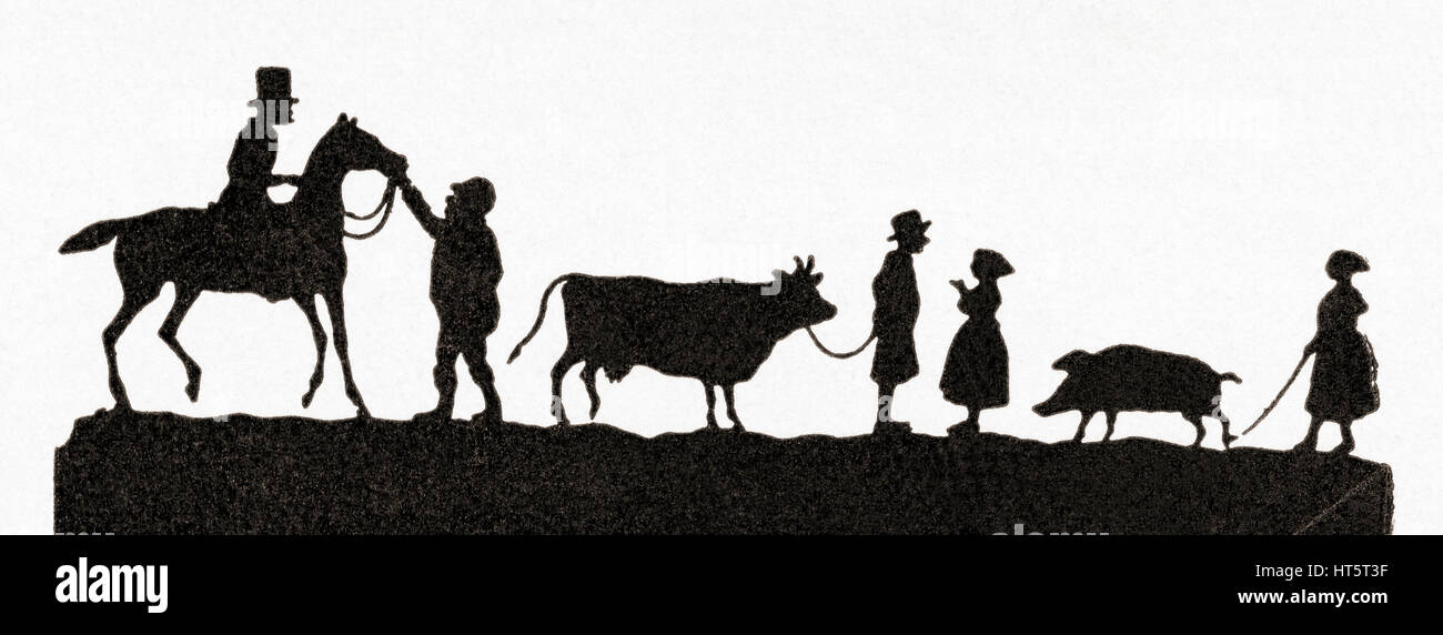 Paper silhouette depicting people taking their animals to market by Paul Ronewka, (1840 -1871).  From Meyers Lexicon, - Stock Image