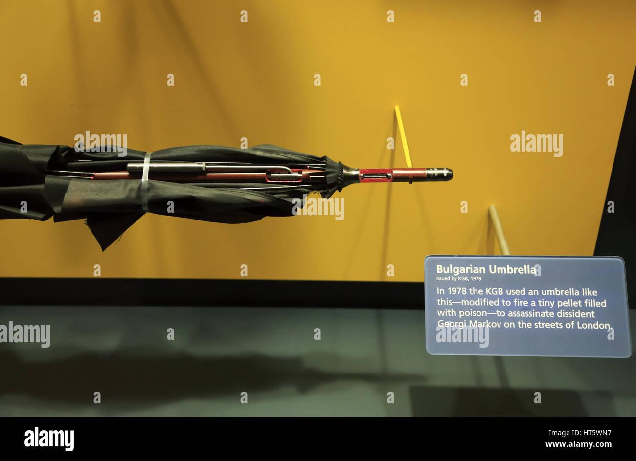 KGB's umbrella gun displaying at International Spy Museum.Washington D.C.USA - Stock Image
