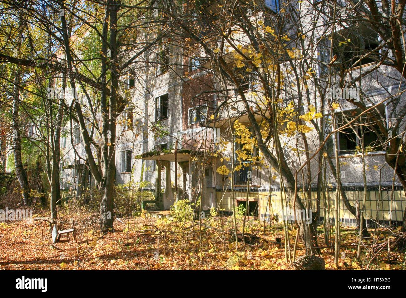 Chernobyl, Pripyat – abandoned building taken over by vegetation after Chernobyl disaster - Stock Image