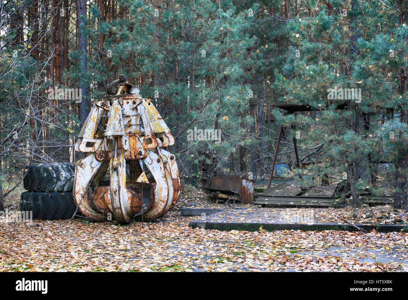 Highly radioactive machine which was used to remove graphite from exploded reactor 4 from Chernobyl power plant - Stock Image