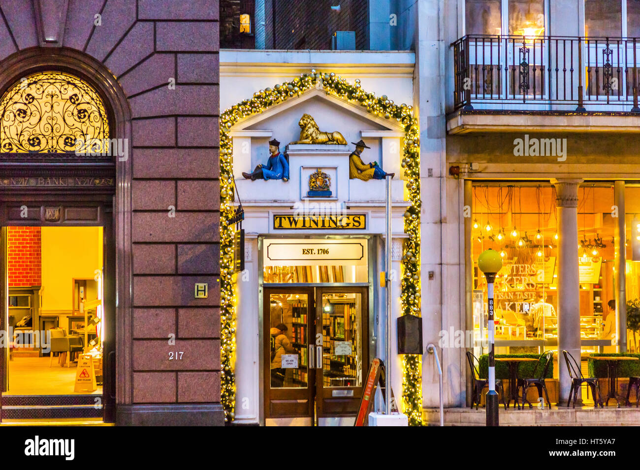 1bb992fb0ca Old City Street Twinnings Tea Shop Nght London England. Shops