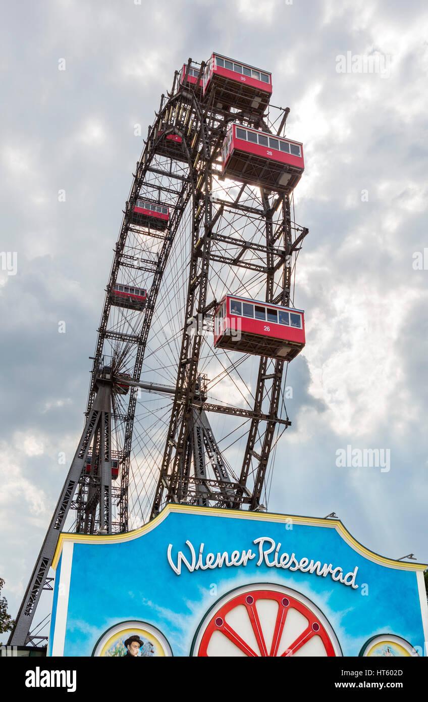 Vienna, Prater. The Wiener Riesenrad (Ferris Wheel) in the Prater amusement park, Vienna, Austria. It's most - Stock Image