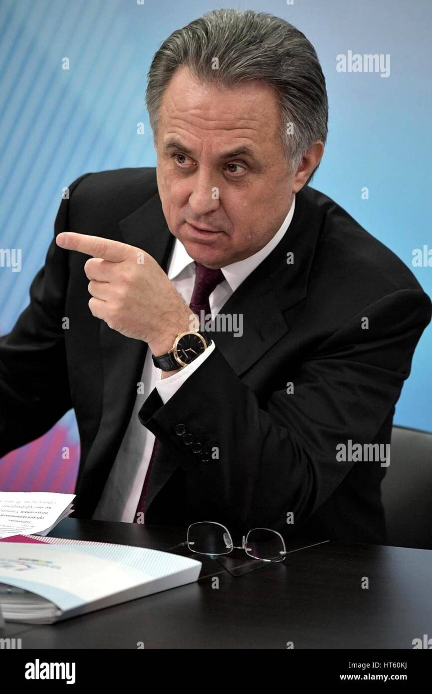 Russian Deputy Prime Minister Vitaly Mutko before the start of a meeting on preparations for the 29th Winter Universiade - Stock Image