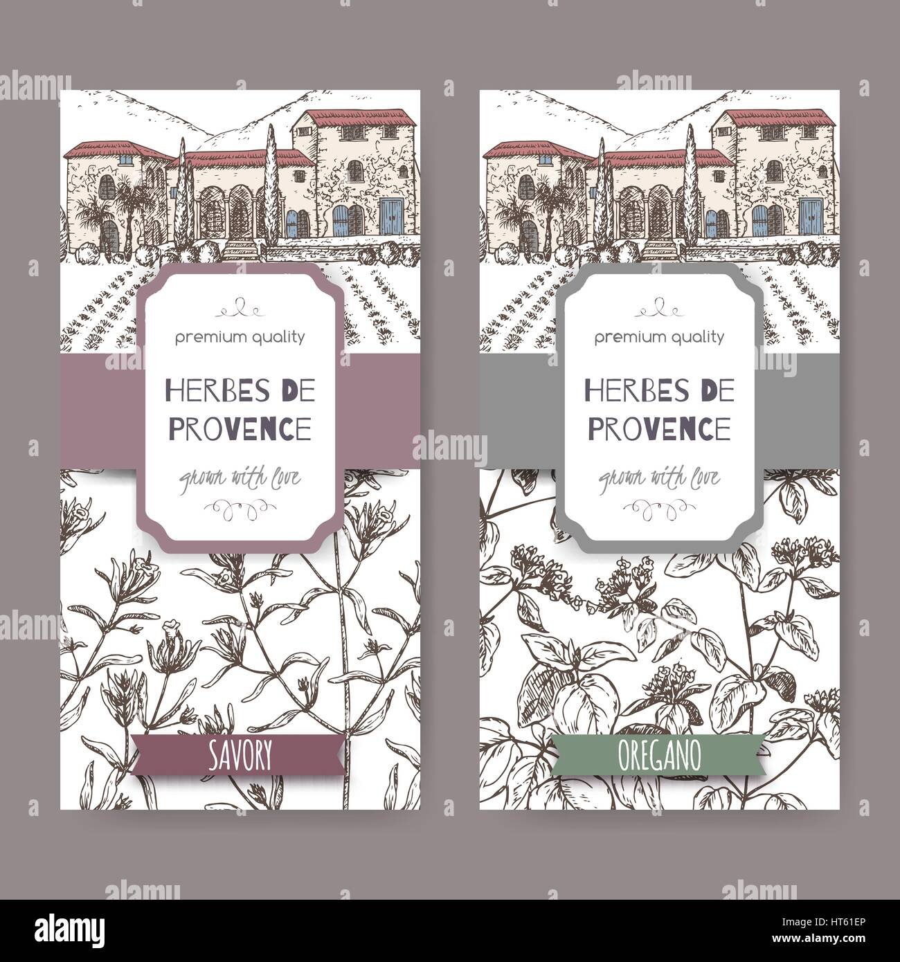 Two Herbes de Provence labels with cottage, savory and oregano. Stock Vector