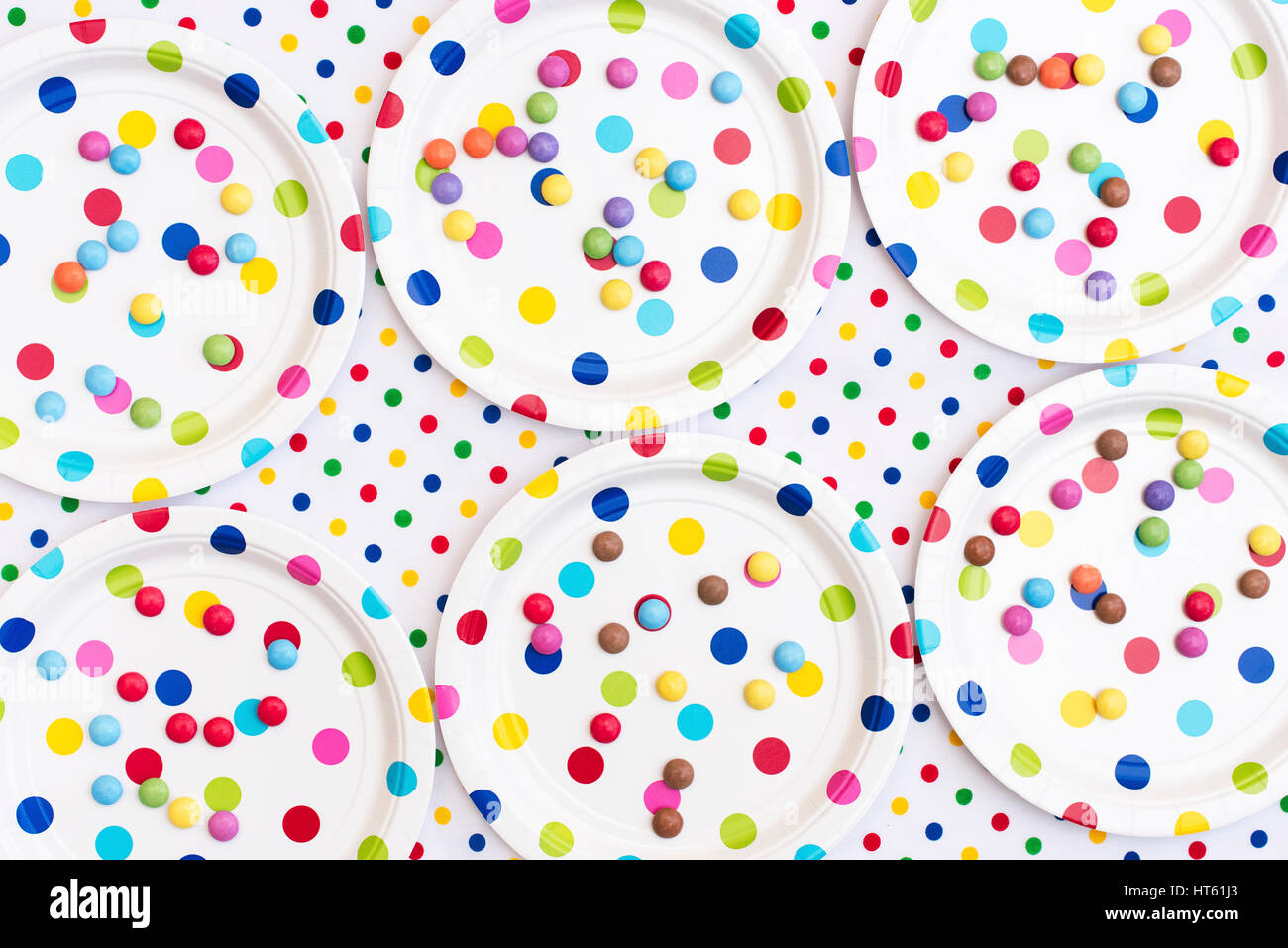 Smarties on colourful polka dot paper plates on a polka dot table cloth. Pattern  sc 1 st  Alamy & Smarties on colourful polka dot paper plates on a polka dot table ...