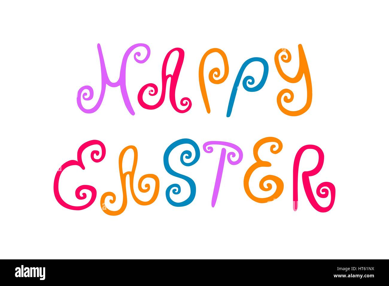 Happy easter card with curls and swirls. Typographical Background With funny letters. Hand drawn colored lettering - Stock Vector