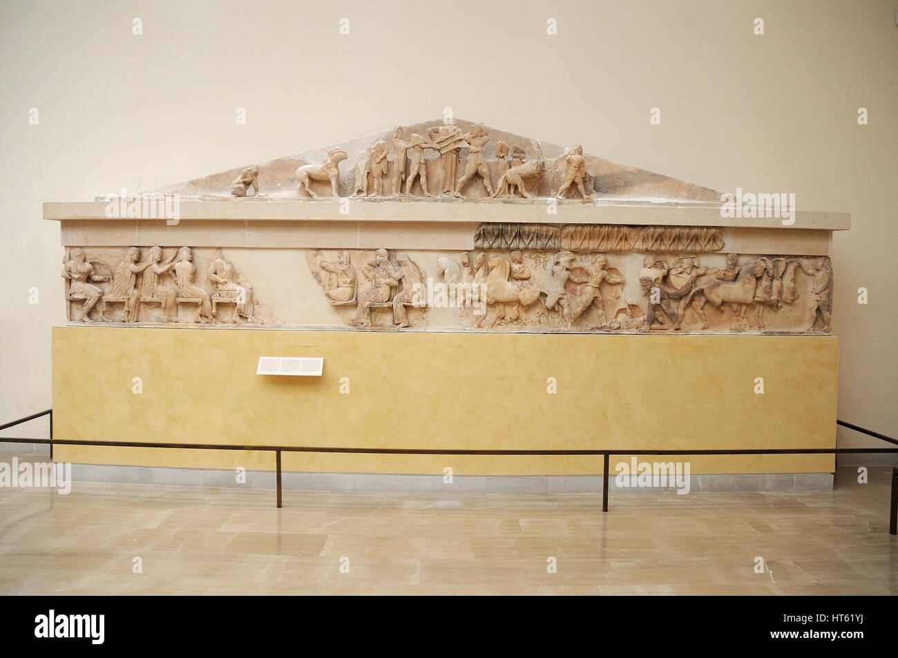 Pediment, Archaeological Museum of Delphi oracle, Greece - Stock Image