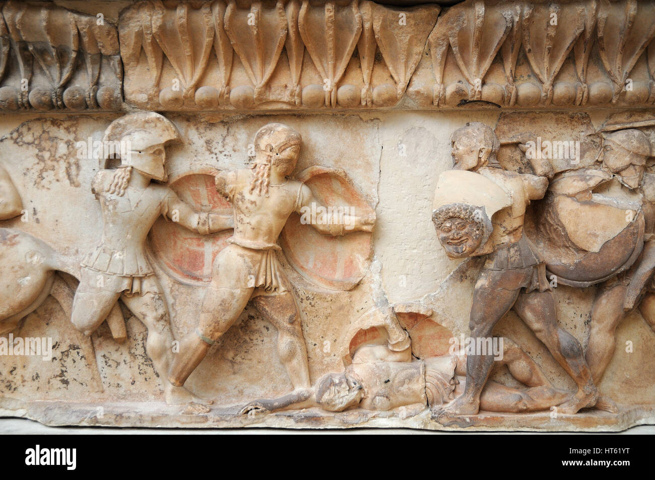 Detail of pediment, Archaeological Museum of Delphi oracle, Greece - Stock Image