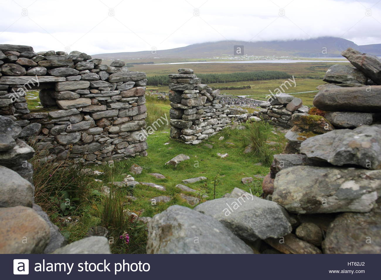 Remains of a deserted 19th century village on Achill Island, County mayo, Ireland - Stock Image