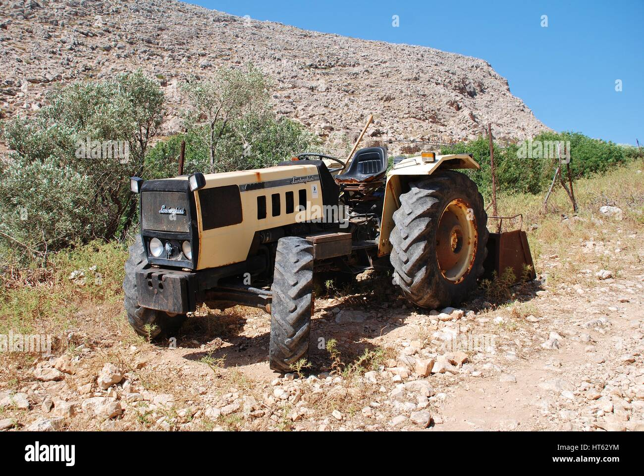 A Lamborghini tractor on a dirt track at Chorio on the Greek