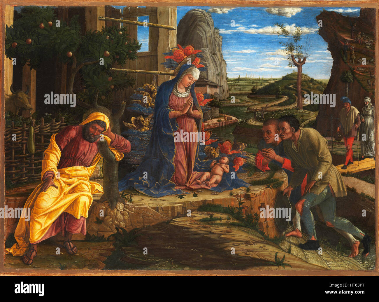 The Adoration of Sheperds by Andrea Mantegna - Stock Image