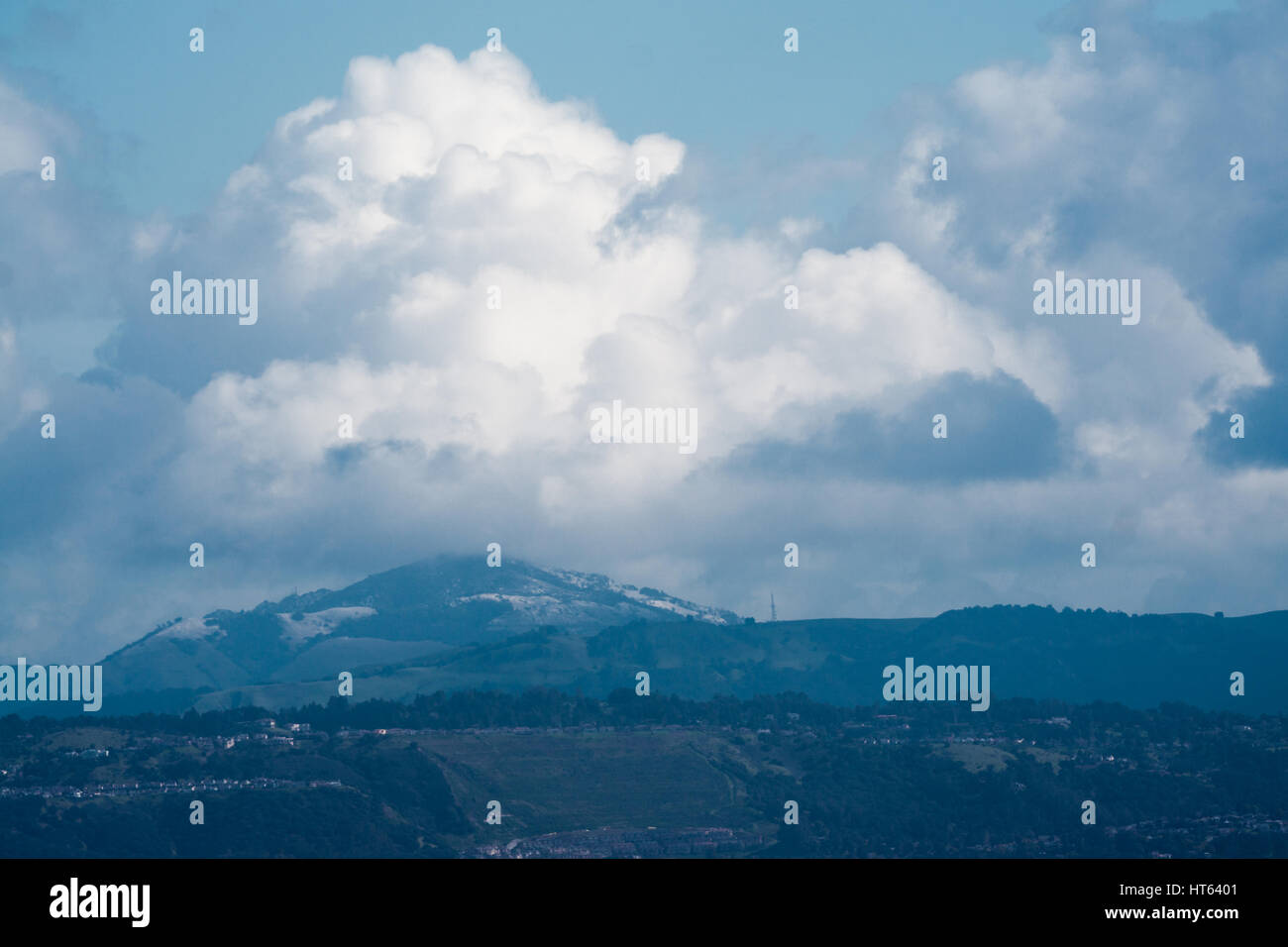 On very rare occasions the Bay Area can see snow when looking outside. Mt. Diablo received snow that quickly melted Stock Photo