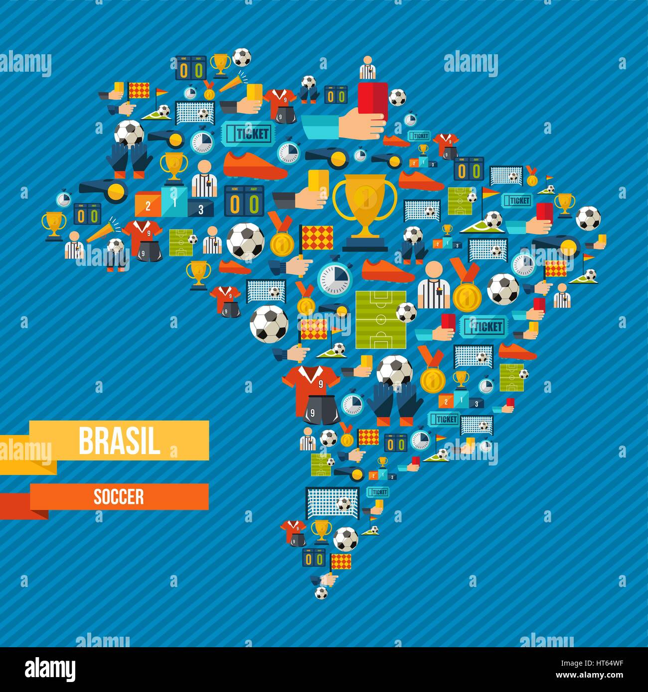 Brazil soccer culture icons in country map includes sport elements brazil soccer culture icons in country map includes sport elements for football game ball shoes champion cup and more eps10 vector gumiabroncs Image collections