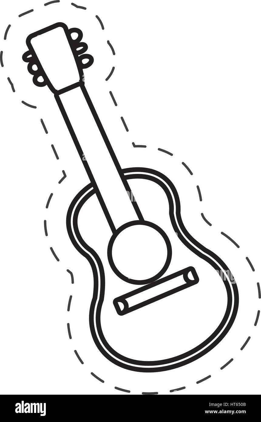 guitar instrument music cut line - Stock Vector