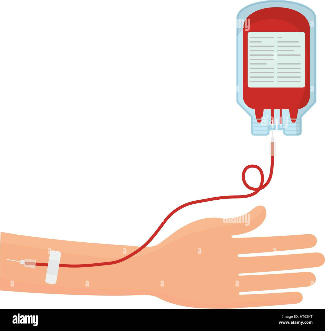 blood donation hand with bag tube - Stock Image