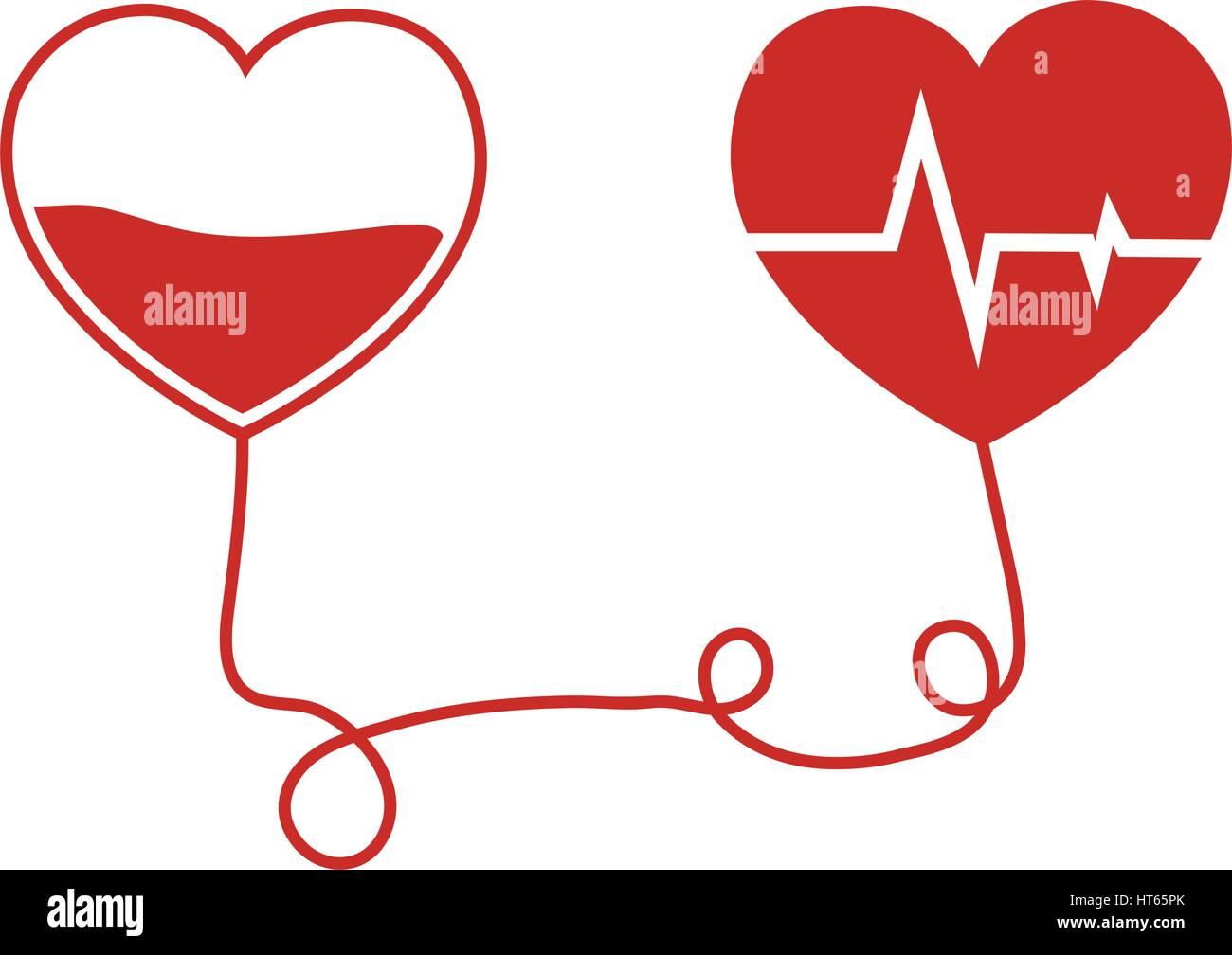 blood donation hearts transfusion - Stock Image
