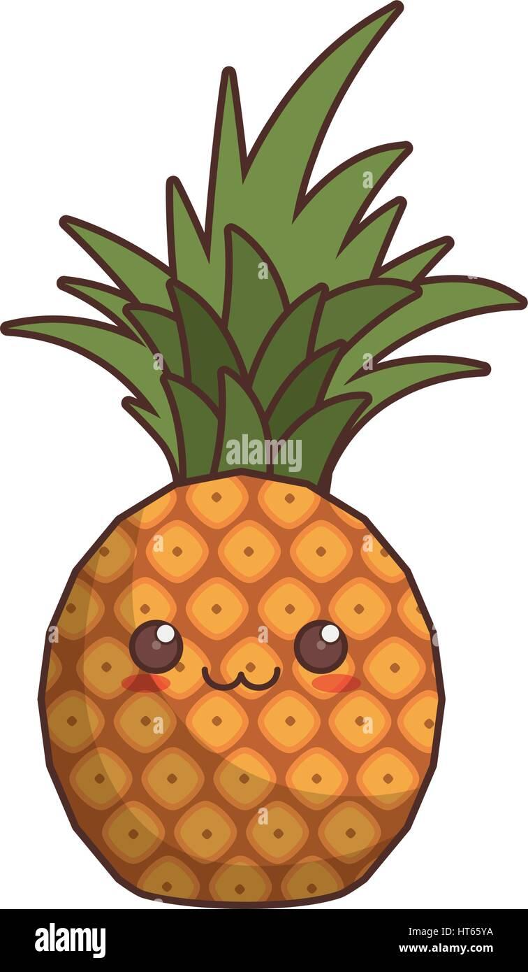 Kawaii Pineapple Fruit Icon Stock Vector Art Illustration