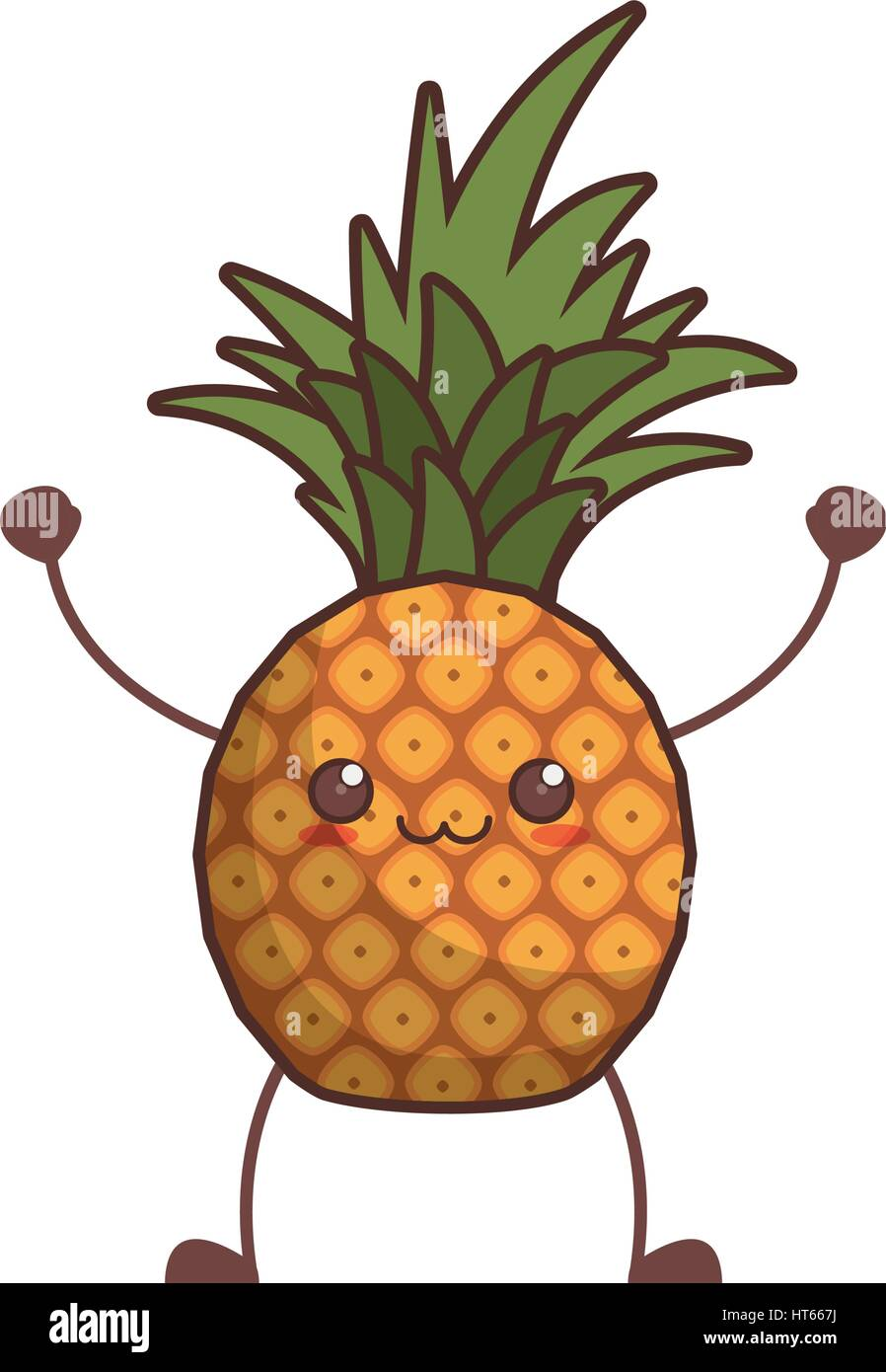 Cartoon Sweet Pineapple Tropical Fruit Stock Photos