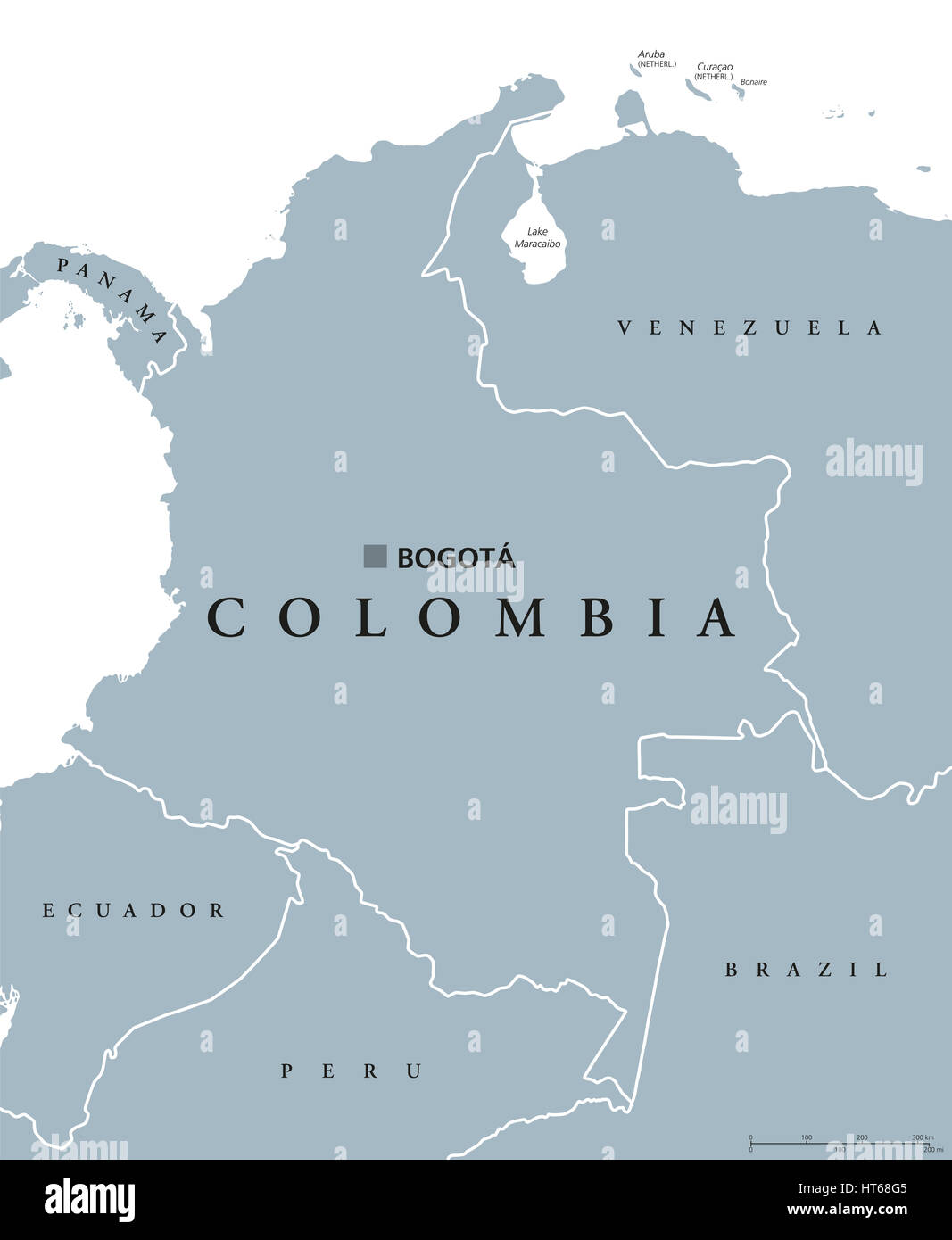 Colombia political map with capital Bogota national borders and