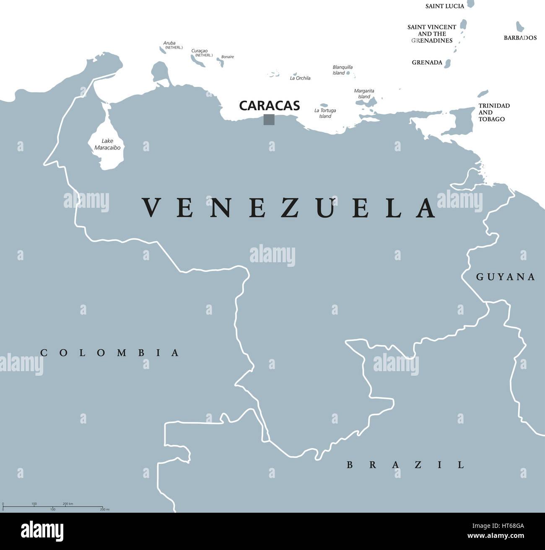 Venezuela political map with capital Caracas and national borders