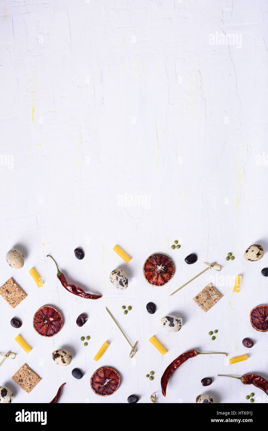 Flat lay food pattern of various food ingredients.Top view, copy space. Grocery background. - Stock Image