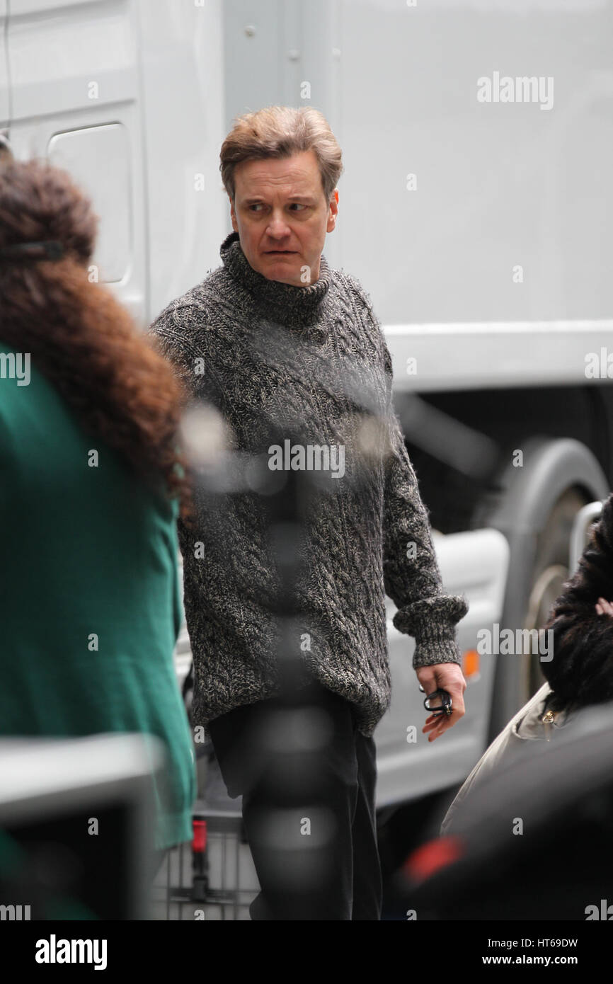 Colin Firth filming Love Actually for Comic Relief at the BBC in London 4th Mar, 2017 - Stock Image