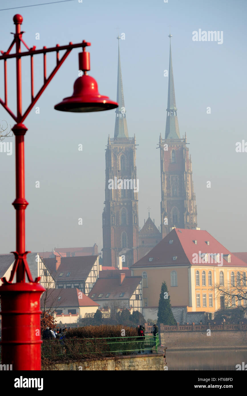 architecture, autumn, breslau, cathedral, cathedrals, church, churches, cities, city, tourism, travel, tumski, wroclaw, - Stock Image