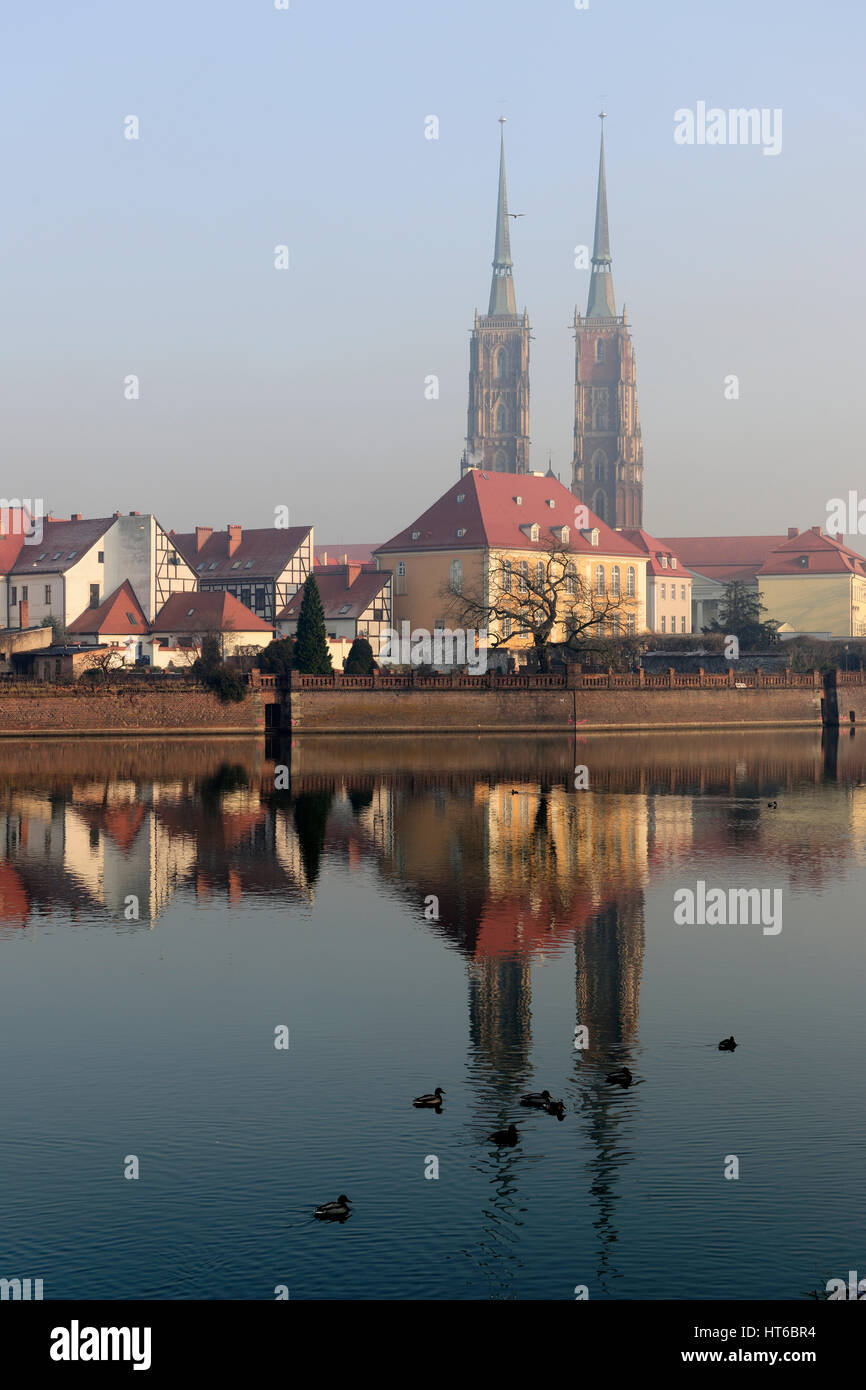 architecture, autumn, breslau, cathedral, cathedrals, church, churches, cities, city, tourism, tourist, travel, - Stock Image