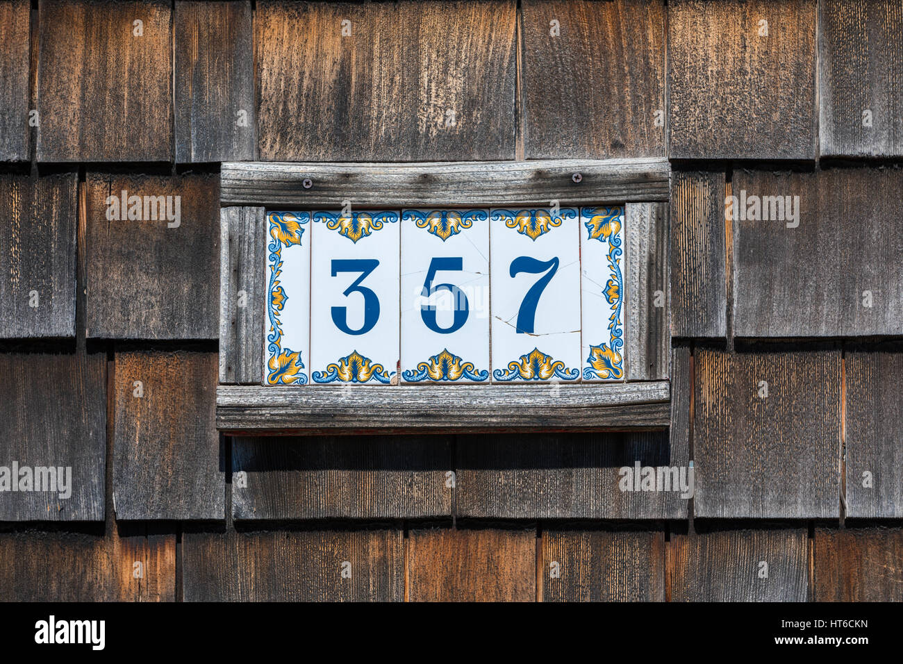 tiled plates with a house number, 357 Stock Photo