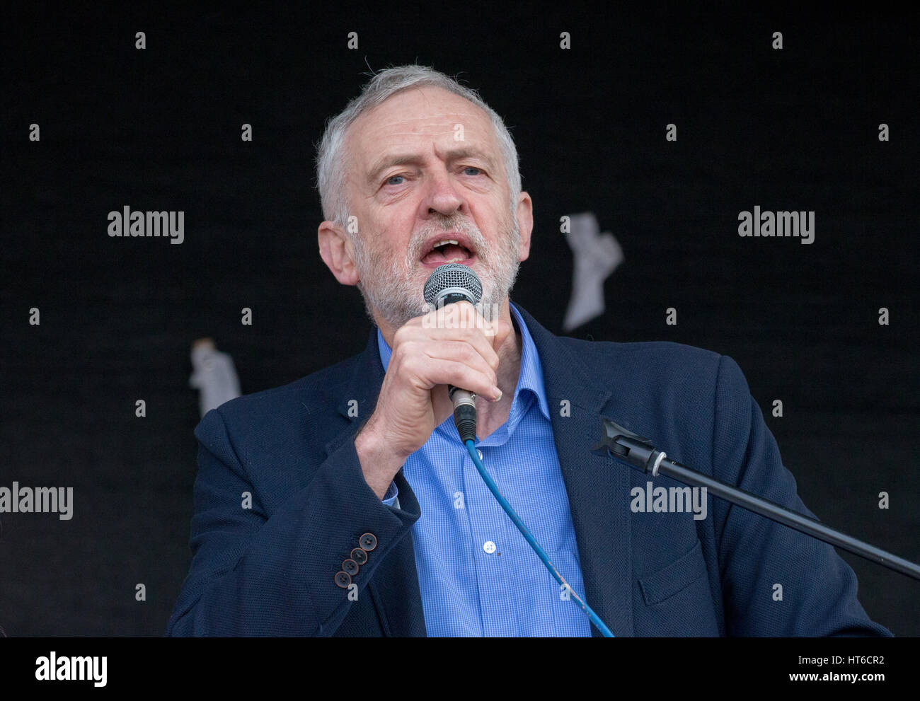 Labour leader,Jeremy Corbyn,speaks at an NHS rally in Central London - Stock Image