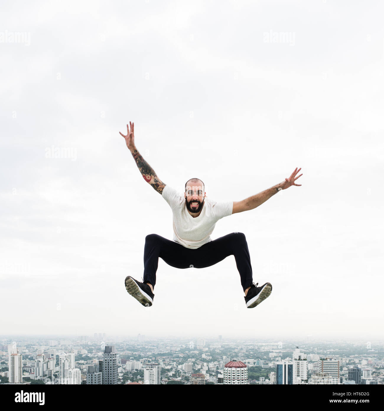 Man Practice Yoga Rooftop Concept Stock Photo
