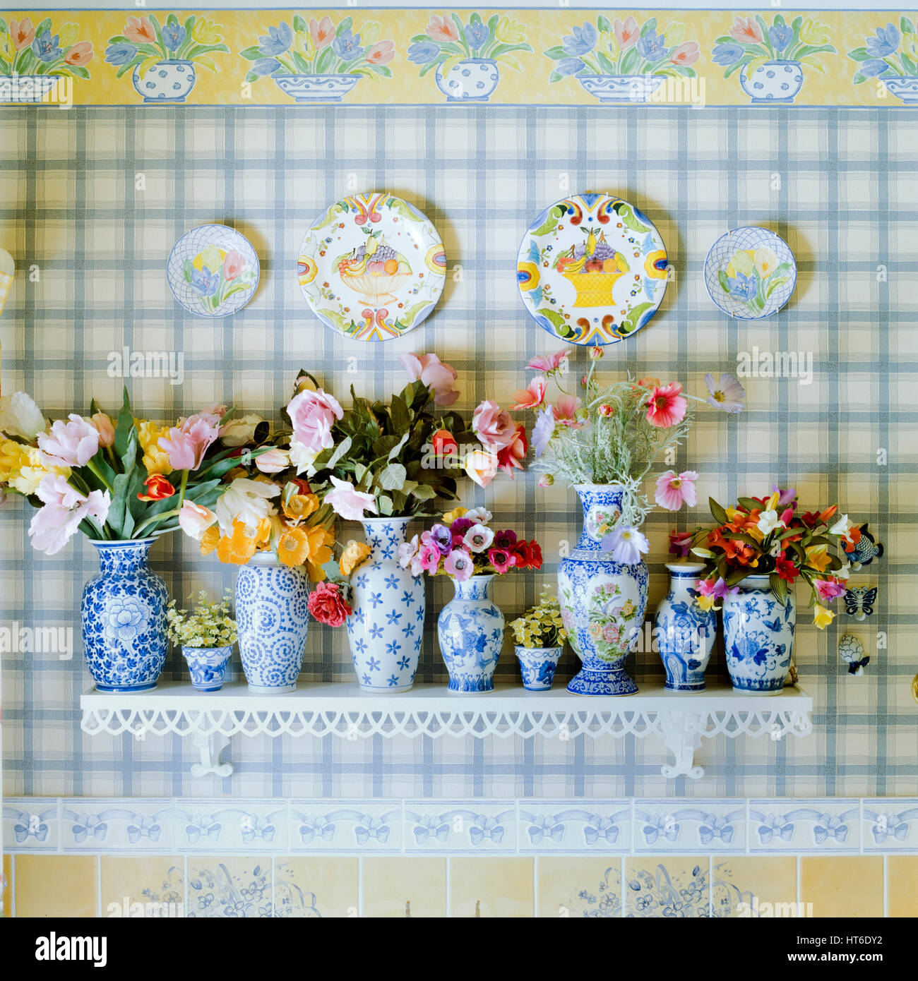 Collection of vases and flowers. - Stock Image